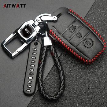 AITWATT hợp kim Kẽm + Leather Car Key Fob Bìa Đối Với Trường Hợp Kia K2 K3 K4 K5 KX3 KX5 Sportage Forte 2015 2016 2017 Xe phụ kiện