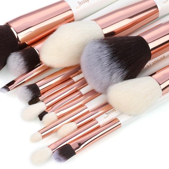 Jessup brushes Pearl White/Rose Gold Makeup brushes set Professional Beauty Make up brush Natural hair Foundation Powder Blushes 1
