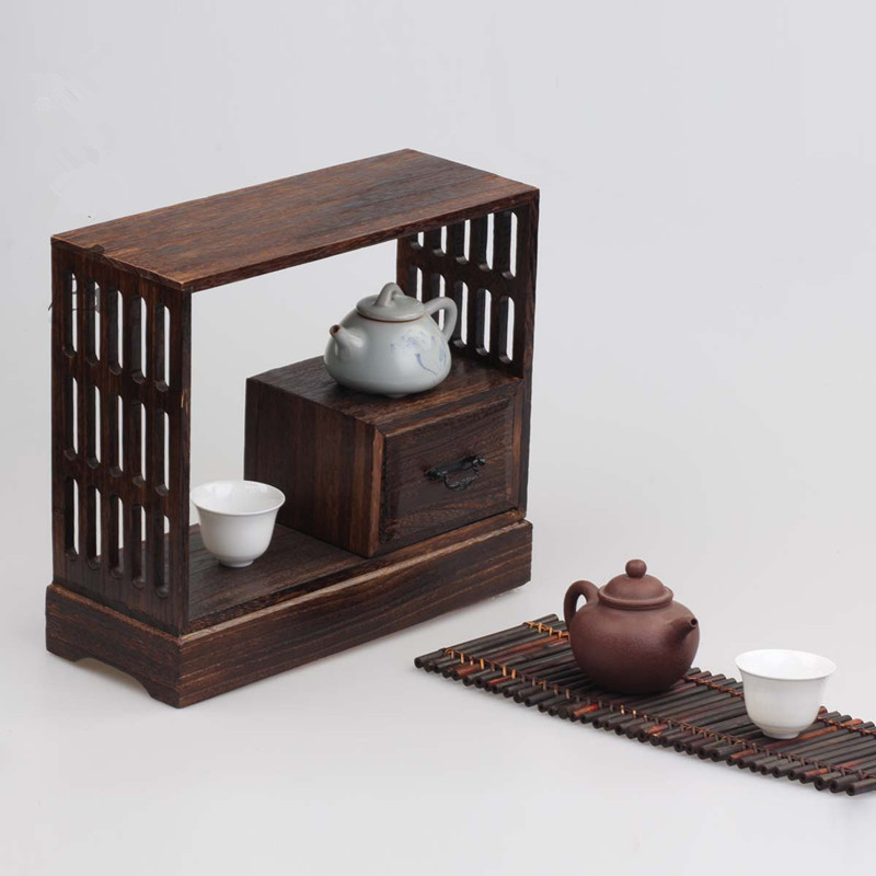 Japanese antique decorative wood wall shelf for tea living for Armoire murale bureau