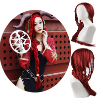 Game Identity V Cosplay Costume Wig Sacrifice Fiona Gilman Cosplay Wigs Witch Deep Red braid Halloween Party Hair FREE Wig cap
