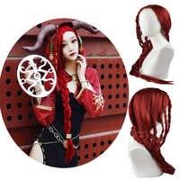 Jeu identité V Cosplay déguisement perruque Sacrifice Fiona Gilman Cosplay perruques sorcière rouge profond tresse Halloween fête cheveux gratuit perruque casquette