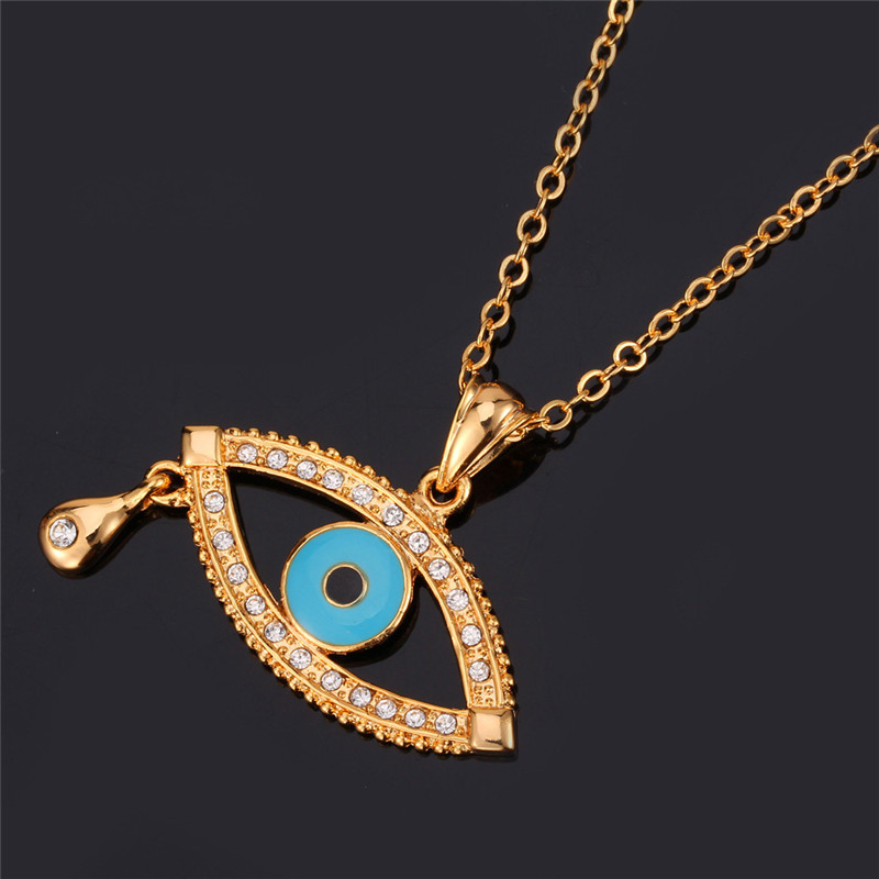 U7 blue eye pendant lucky jewelry gift for women men trendy gold u7 blue eye pendant lucky jewelry gift for women men trendy gold color unique tear of blue eye pendant necklace p1186 in pendant necklaces from jewelry aloadofball Images