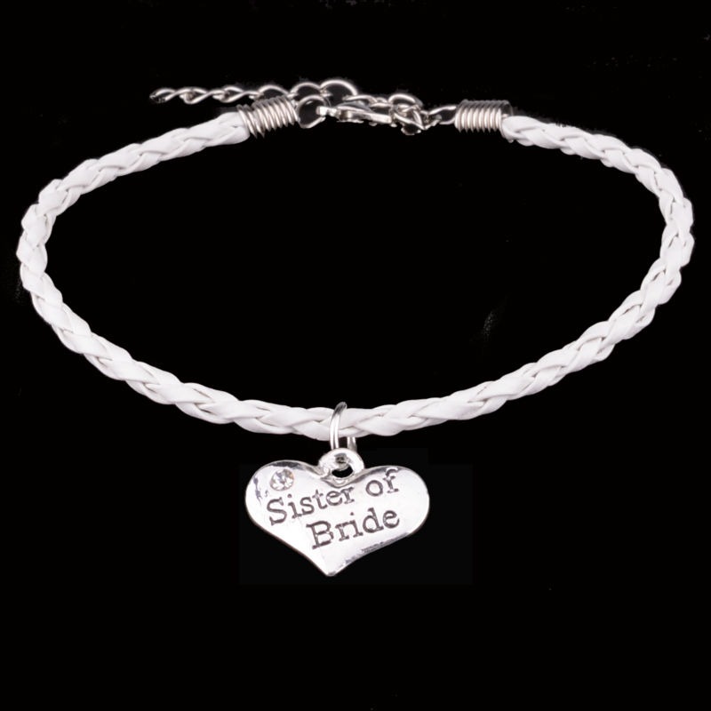 Family Sis Bracelets Sister Of Bride Bracelet Crystal Heart Charms Leather Chain Bangle Femme Women Girl Jewelry Wedding Gifts