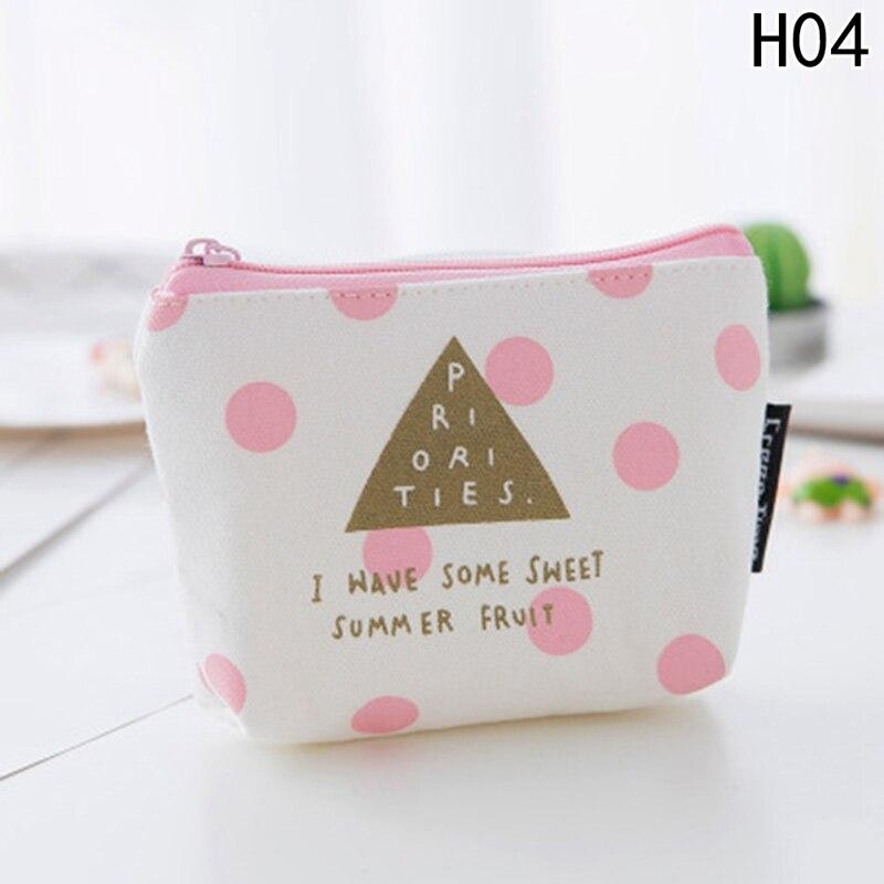 1pcs Cute Fresh Pink Strip Canvas Coin Purses Zipper Child Girl Boy Women Purse Lady Coin Bag Key Packet