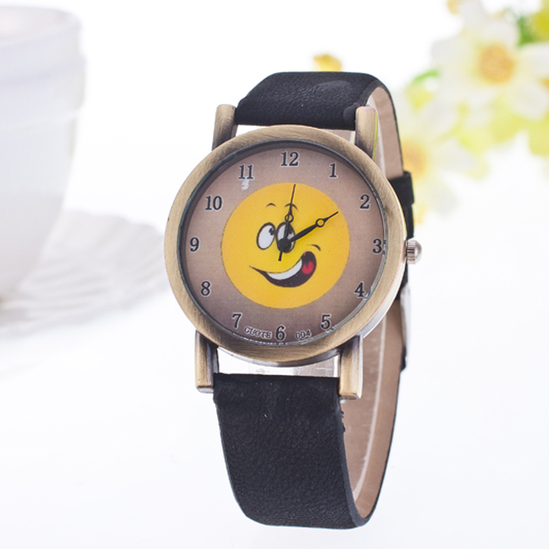 Cute Cartoon Smile Pattern Fashion Students Kids Quartz Watch Famous Brand Leather Strap Casual Women Men Watches Children Gifts
