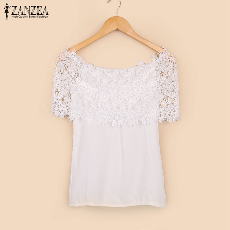 ZANZEA Blusas 2017 Summer Women Sexy Chiffon Lace Stitching Tops Ladies Casual Off Shoulder Short Sleeve Blouse Shirts Plus Size