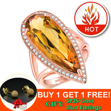 LAMOON Luxury Gemstone Natural TearDrop Citrine 925 Sterling Silver Cocktail Ring Women Jewelry Rose Gold Plated S925 LMRI041 almei 8ct teardrop citrine bead 925 sterling silver rose gold color vintage neck jewelry decoration for women with box 40