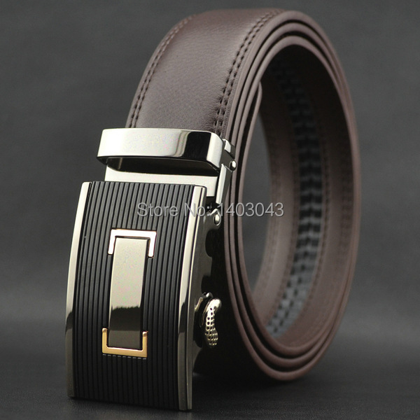 WOWTIGER Free shipping Automatic buckle belts Luxury automatically cowhide men belt brown black belts for men 1