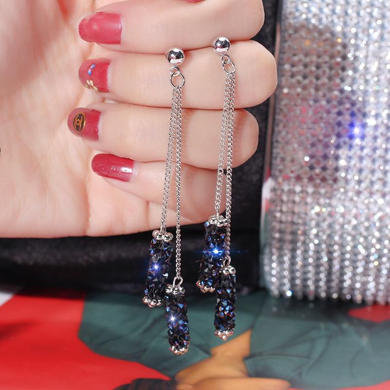 New Earrings Fashion Jewelry Personality Creative Blue Crystal Tassel Long Geometric Earrings For Women Wholesale