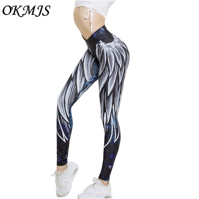 1e70b0063c 3D skrzydło legginsy dla kobiet 2018 push up sportowych fitness legging  athleisure kulturystyka sexy kobiet spodnie