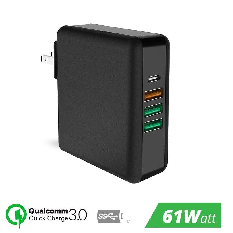 61 W USB Tipo C Universal Carregador Rápido de Carga Rápida 3.0 para Macbook Pro Air HP Lenovo Asus Xiaomi Huawei iPhone Telefone Companheiro Laptop
