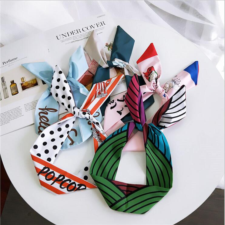 Cute Striped Dots Letter Print Flower Bunny Rabbit Ear Ribbon Headwear Hairband Metal Wire Scarf Headband Hair Band Accessories