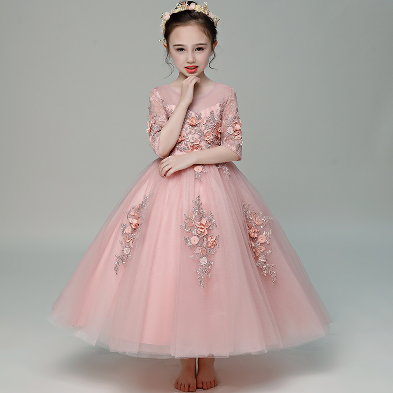 Pink Flower Girl Dresses for Wedding Half Sleeve Appliques First Holy Communion Dress Ball Gown Princess Dress Party Gowns B298Pink Flower Girl Dresses for Wedding Half Sleeve Appliques First Holy Communion Dress Ball Gown Princess Dress Party Gowns B298