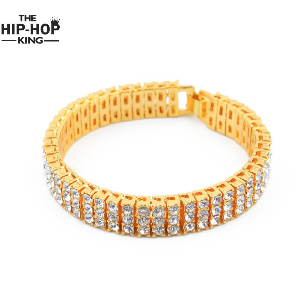 Mens Silver Color Iced Out 8 3 Row Simulated Cz Hip Hop Bracelet Heavy Bling High