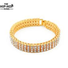 """Мужские серебряные Цвет Iced Out 8 """"3 ряд имитация CZ хип-хоп браслет Тяжелая Bling высокое качество Модные украшения"""