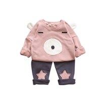 Winxinbuy Leuke Meisje Winter Herfst Kleding Sets Shirt Top en Katoen broek 3D Beer Afbeelding met Oren en Gezicht Patroon Broek met T