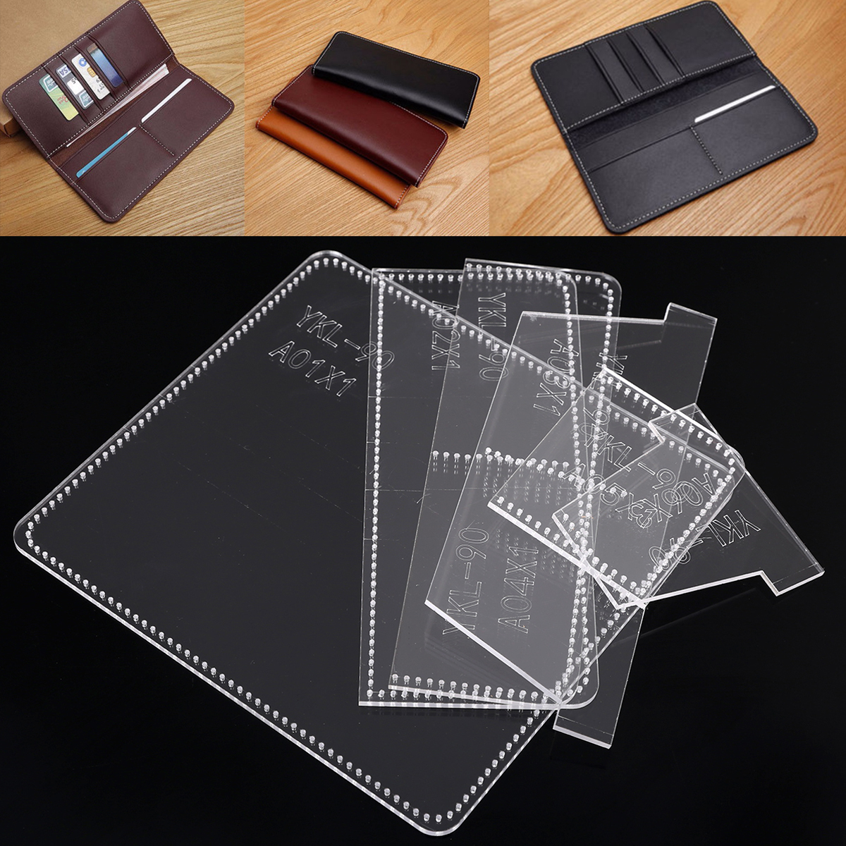 Practical Acrylic Wallet Template Transparent Templates Leather Craft Pattern Stencil for Making Business Long Wallets