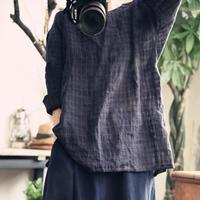 BUYKUD Casual Loose Plus Size Women Blouse 2018 Women Summer Spring Shirt Fashion Long Sleeve Round neck Cotton Linen Folded Top