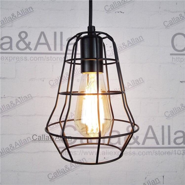 Современная черная птичья клетка подвесные светильники Железный минималистичный Ретро Свет Скандинавская пирамидальная лампа в стиле лоф