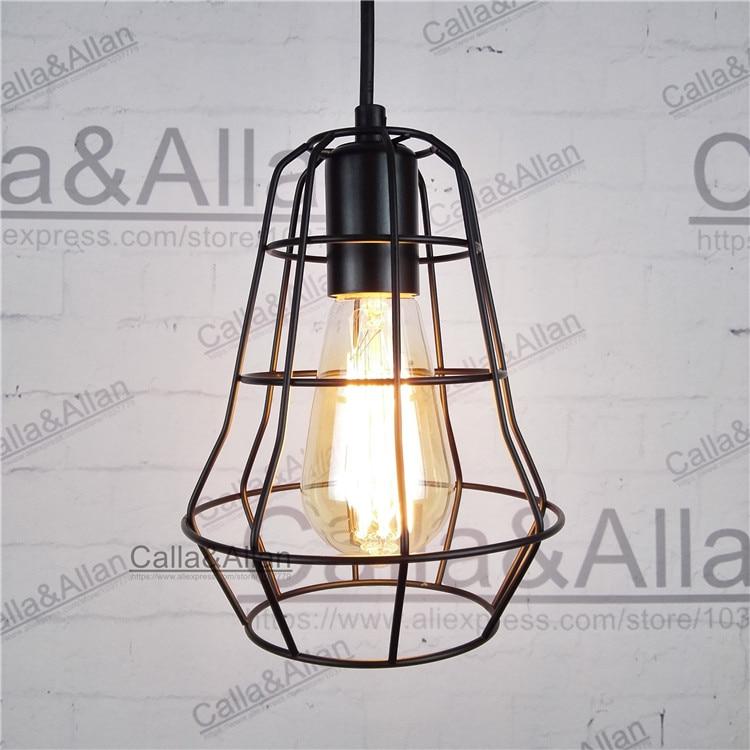 Modern Black Birdcage Pendant Lights Iron Minimalist Retro Light Scandinavian Loft Pyramid Lamp Metal Cage Suspension