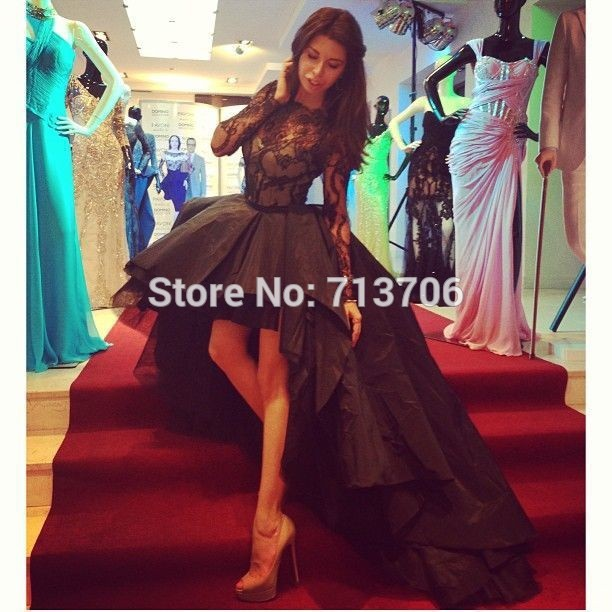 2017 Prom Gowns Evening Special Occasion Appealing High Low Black ...