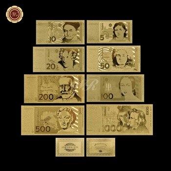 เยอรมนีทองธนบัตรชุดทองคำบริสุทธิ์ชุบ5.10.20.50.100.200.500 1000เยอรมันเครื่องหมายเงินกระดาษUNCบิลของขวัญ