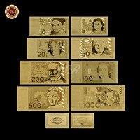 Alemanha Conjunto De Notas de Ouro Puro Banhado A Ouro Presente 5.10.20.50.100.200.500 1000 Marco Alemão Factura de Papel Moeda UNC