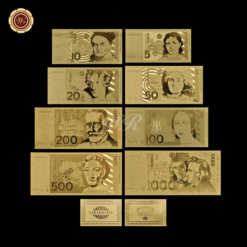 My German Finances: Germany Gold Banknote Set Pure Gold Plated 5.10.20.50.100