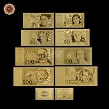 Alemanha conjunto de notas de ouro puro banhado a ouro 5.10.20.50.100.200.500 1000 alemão marca papel dinheiro unc bill presente