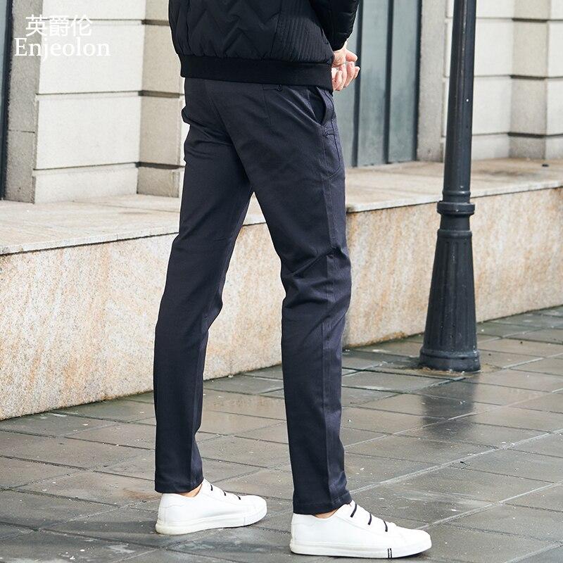 Enjeolon Brand Spring Long Straight Trousers Pants Men Base Black Casual Pants Men Quality Thick Long Pants Male KZ6340