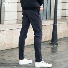 Enjeolon marca primavera calças longas retas dos homens base preto calças casuais qualidade grossa calças compridas masculino kz6340