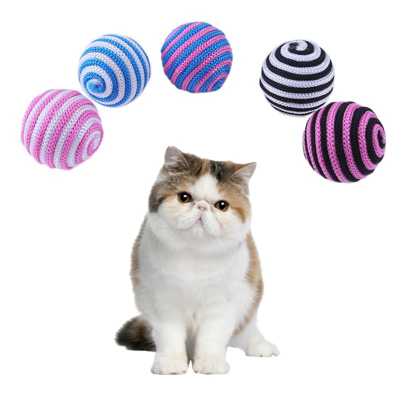 5pcs 5cm Dog Cat Toy Pet Puppy Cotton Rope Toy Cat Interactive Funny Toy Colorful Ball Random Color