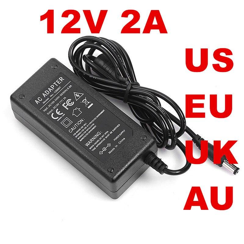 1 pcs 24 w 12V2A ADAPTADOR AC 12 v 2A + EUA EU UK plug UA AC-DC 100-240VAC DC12V