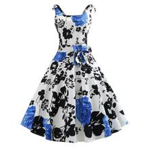 Best Cheap Women Plus Size 50s Retro Hepburn Style Whole-body Printing With Roses Slim Waist Flared Dress Hot Sale
