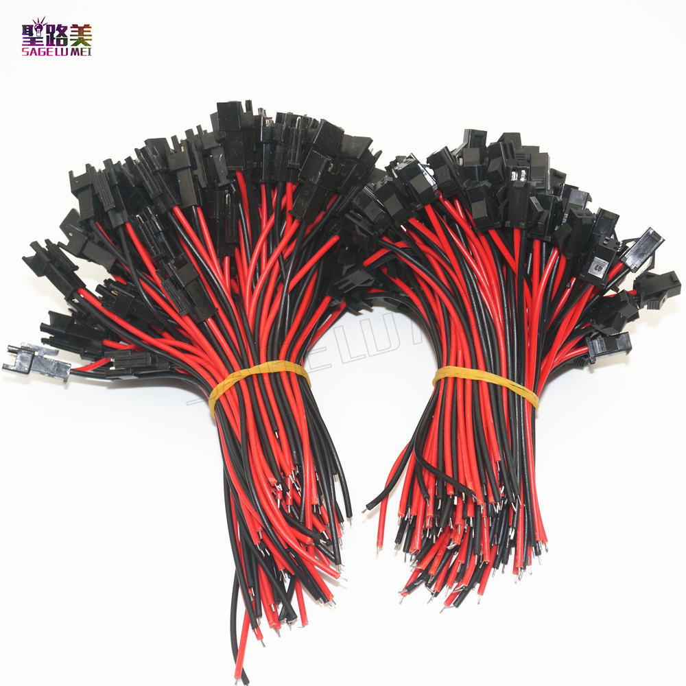 100 pairs /lot <font><b>2pin</b></font> SM JST <font><b>connector</b></font> cable for <font><b>Male</b></font> to <font><b>female</b></font> 10cm length Wire Led Lamp Driver cable LED strip 2 pin <font><b>Connector</b></font> image