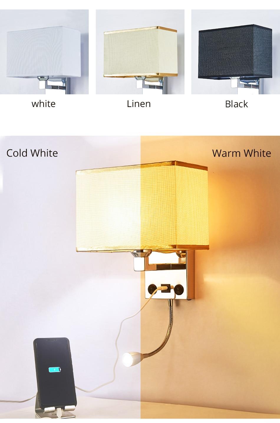 LED E27 Bulb Wall Light Modern Bedroom Bedside Hotel Living Room Wall Sconce Lighting 7W 85-265V Indoor Night Lighting Fixture (4)