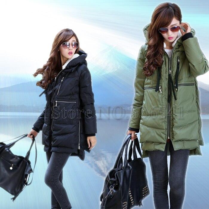 Nova 2015 modna marka dugi zimski kaput žene bijela patka dolje jakna parka s kapuljačom volana zelena crna odjeća za žene