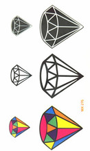 10x6cm Temporary Small Fashion Tattoo Sexy Black White Color Diamond Waterproof Temporary Tattoo Stickers