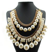 Exaggerated Romantic Luxury Multi Layered Simulated Pearl Statement Necklace For Women S Choker Jewelry Bijoux