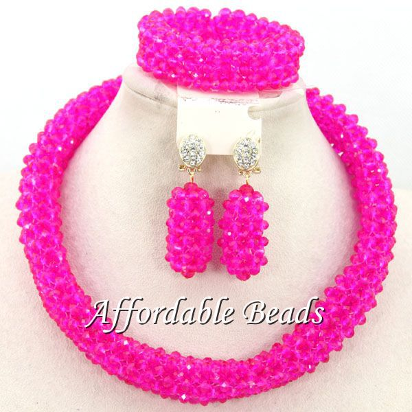 Fuschia Women Jewelry Set Unique African Wedding Beads Popular Item Wholesale Free Shipping BN509Fuschia Women Jewelry Set Unique African Wedding Beads Popular Item Wholesale Free Shipping BN509