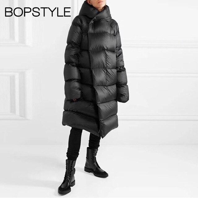 Черный/серый зеленый цвет негабаритных с капюшоном белый утиный пух пальто-F/W 2018 женская мягкая теплая негабаритная длинная пуховая куртка верхняя одежда