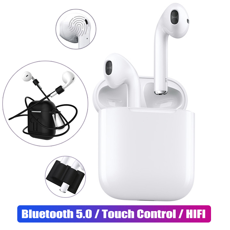$31.40 i12 Mini TWS Touch Bluetooth Earphone 5.0 Stereo Headset +4PC Protective Case kit true Wireless Earbuds for Apple iphone Samsung