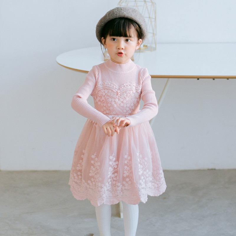 Flower Girl Dress winter Clothes Girl 2017 Baby Girl Wedding lace Dresses Kids's Party pearl Costume For Girl Children Clothing baby girls white dresses for wedding and party wear girl princess dress kids lace clothes children costume age 3 4 5 6 7 8 9 10