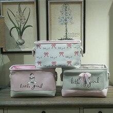 Розовая корзина для белья, органайзер для грязной одежды, хлопок, балетная девочка, бант, печатные игрушки, органайзер для хранения и организации дома