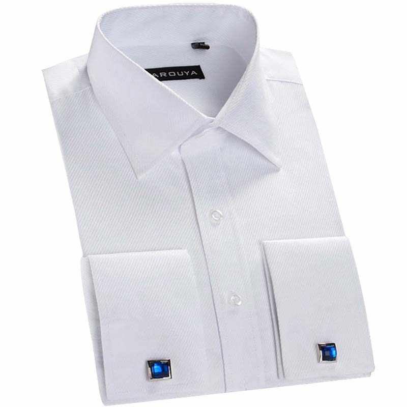 6b10fbc090ed5 Detail Feedback Questions about Mens French Cuff Solid Dress Shirts ...