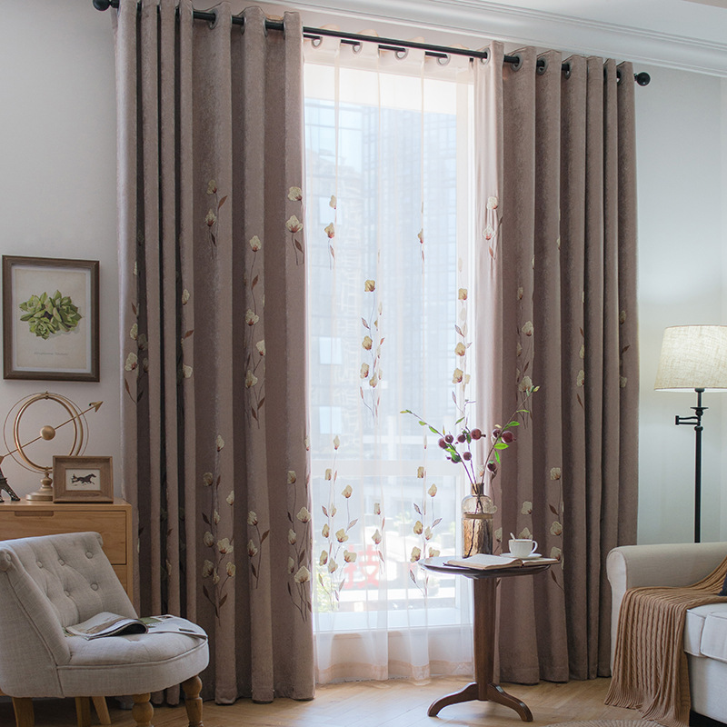 Modern Chenille Stripe Kitchen Blackout Curtains Doors For