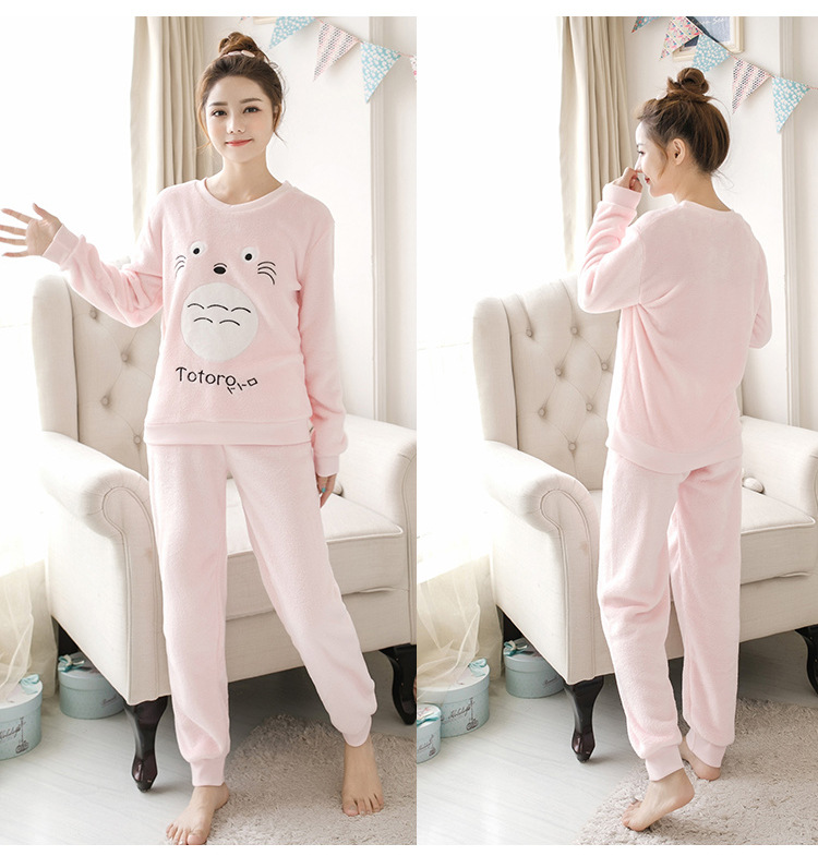 Women pajamas set Women Pyjamas Thick Flannel Cute Sheep Female Warm Winter Pajama Set Long Sleeve Full Trousers Two Piece 2019 69