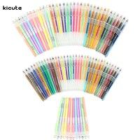 36 48pcs Excellent Quality Colorful Gel Pens Set Glitter Paster Metallic Color Art Book Mark Fine