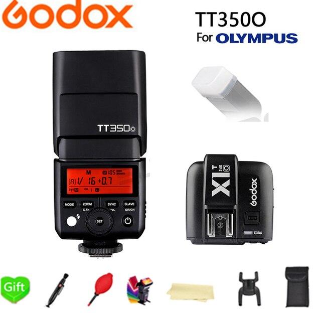 Godox TT350O Mini Speedlite TTL HSS 1/8000S GN36 Camera Flash Pocket lights TT350-O + X1T-O trigger for Olympus + Gift kit