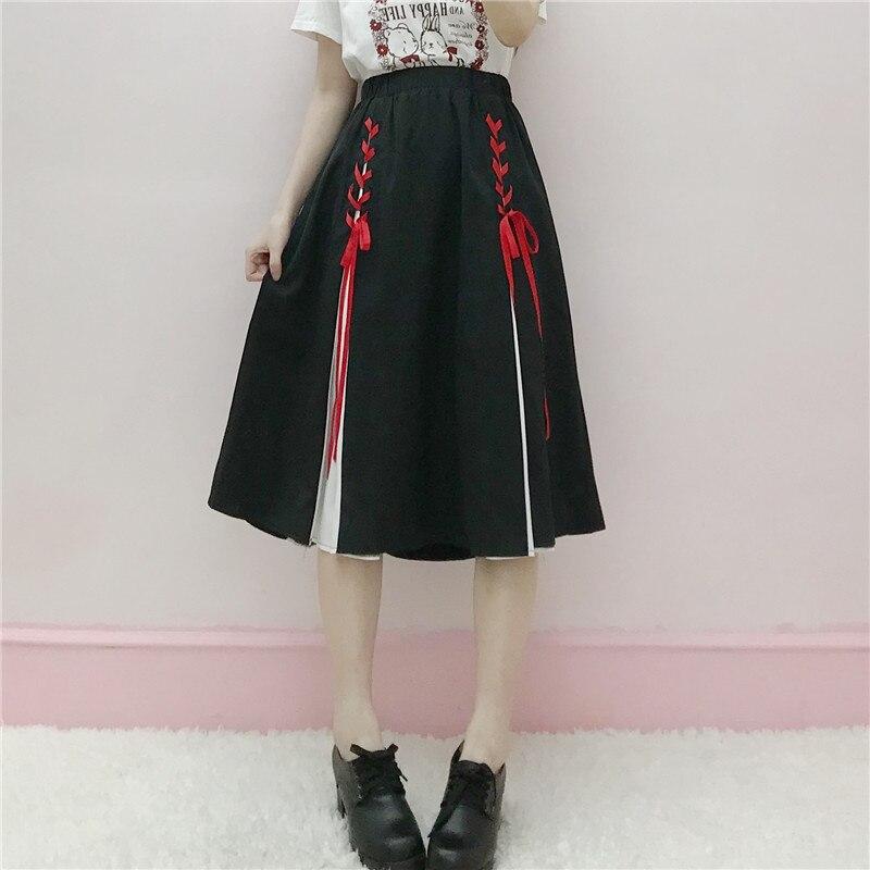 Women Teenagers A Line A Shape Gothic Lolita Sweet Half Skirts Cos Show Cute Kawayii Harajuku Skirt